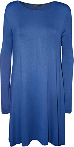 WearAll Women's Plus Size Flared Long Sleeve Swing Dress Top - Royal Blue - US 20-22 (UK 24-26)