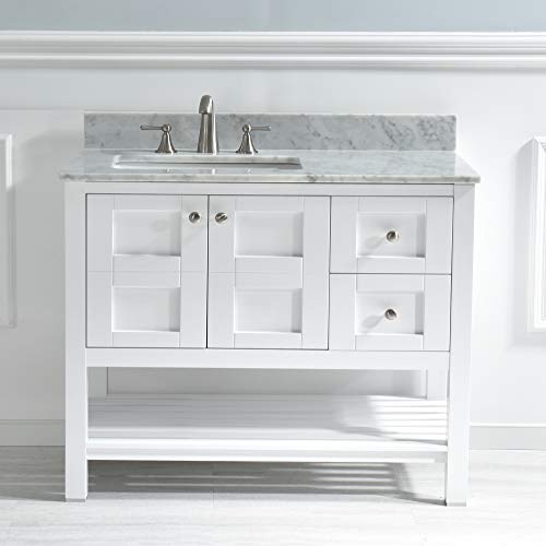 "WOODBRIDGE 42""X21"" Vanity with Rectangle Bowl, White Color. Sydney-4221, 42"""