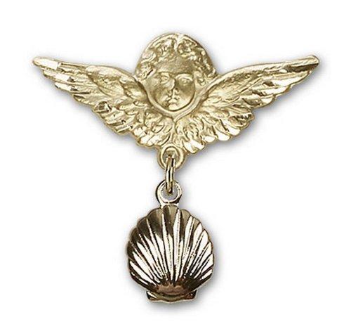 Icecarats Créatrice De Bijoux En Or Remplie Shell Charme Ange Broche De Badge 1 X 1 1/8