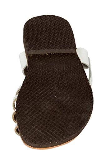 Creta de de beige Marron Negro Grecia de tiras Beis mano en sandalia de 47 36 cuero Tamaño genuino la Blanco a Blanco Hecho superior qxOPXX
