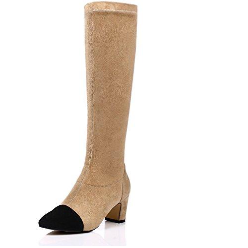 LongFengMa Women's Square Heel Zipper Knee Boots apricot bEzbUsE8bw