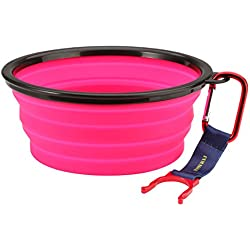 INMAKER Collapsible Dog Bowl, FDA Approved Silicone Pet Bowl for Dog Cat, BPA Free Portable Travel Bowl (Pink 5 Cup)