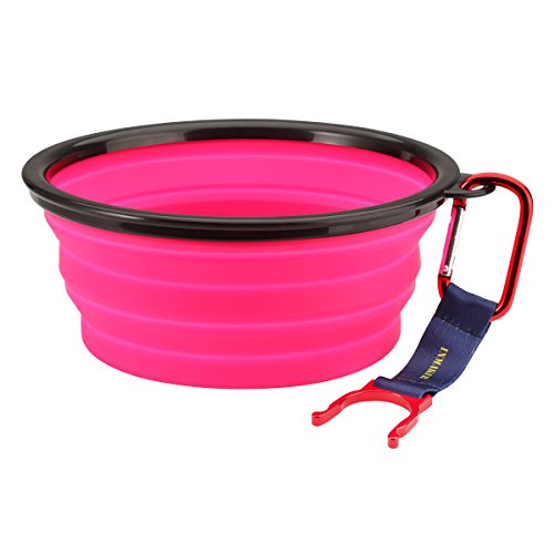[INMAKER Collapsible Dog Bowl, FDA Approved Silicone Pet Bowl for Dog Cat, BPA Free Portable Travel Bowl (Pink 5] (Dollar Jumbo Glasses)