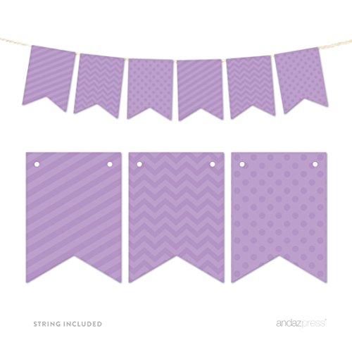 Andaz Press Hanging Bunting Banner Party Decor with String, Lavender, 9-feet, 1-Set