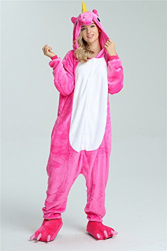 Missley Adulto Unisex Flanela Unicornio Cartoon Animal Novedad Halloween Pijama Cosplay (M, Rose): Amazon.es: Juguetes y juegos