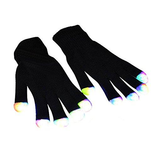 LED Gloves, DAXIN DX Light up Rave Gloves Finger Light Gloves Kids Adults 6 Adjust Modes for LightShow/ Performances/ EDM/ Disco/ Party/ Gift/ Party Favors