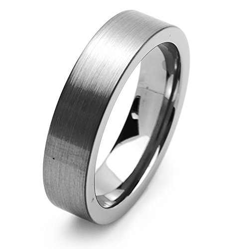 Double Accent 6MM Comfort Fit Tungsten Carbide Wedding Band Brushed Pipe Cut Style Tungsten Ring (5 to 15), 8.5 by Double Accent
