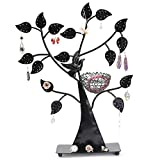 ROBAG Jewelry Rack Metal Storage Bag European Creative Wrought Iron Bird Nest Tree Detachable Earrings Necklace Pendant Display Stand (Black)