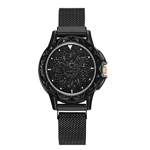 Women Watches for Sale,360 Degree Rotating Fashion Diamond Dial To Run Ladies Quartz Mesh Belt Watch(Black)