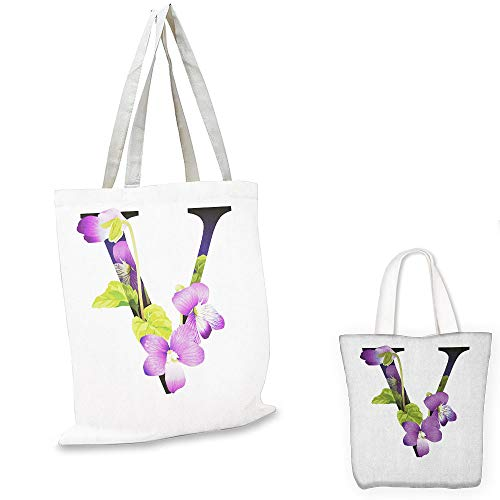 shopping bag storage pouch Letter V Viola Sororia Wildflowers on the V Natural Arrangement Floral Initial Violet Green Black bag organizer for tote