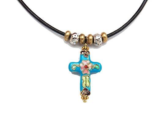 Fundamental Rockhound: Aqua Cloisonne Cross Pendant Necklace on 20
