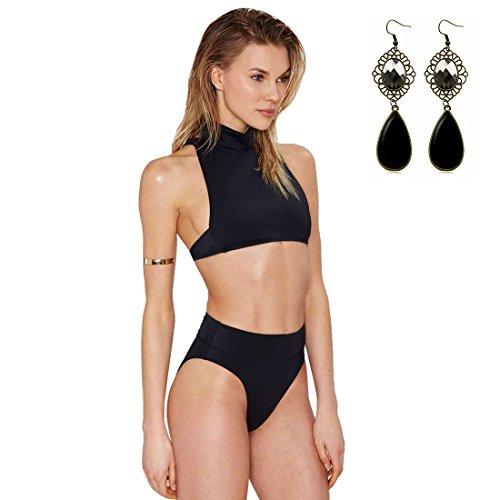 YR-LIN Women's 2PCS Bikinis Push up High-Neck Swimwear Sport Swimsuits Beachwear