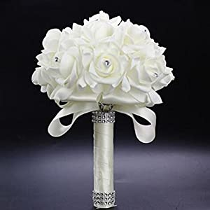 Crystal Roses Pearl Rose Bridal Bridesmaid Wedding Bouquet Artificial Silk Flowers (1, Ivory) 103