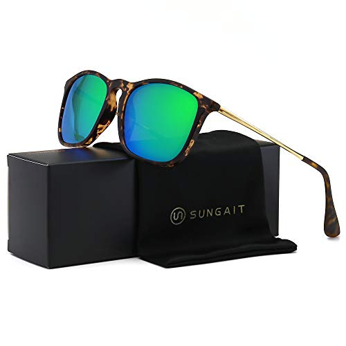 SUNGAIT Classic Square Frame Sunglasses Retro Style for Men Women (Tortoise Frame/Polarized Green Mirror Lens, 54) Composite Frame ()