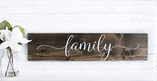 Dark Walnut Family Wooden Sign - Rustic Farmhouse Wood Handmade Decor