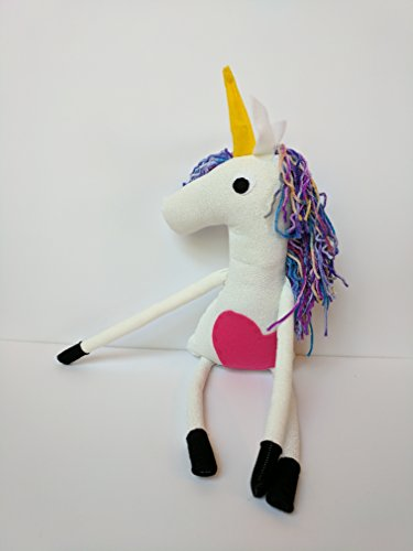Big Unicorn Stuffed Animal Plush with Magical Yarn Rainbow Hair, Skinny Legs, and Hand Stitched Hot Pink Heart