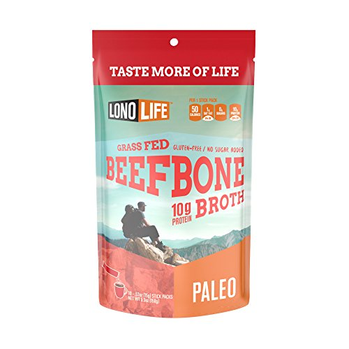 LonoLife Grass Fed Beef Bone Broth 10 grams Protein, 10 Stick Packs