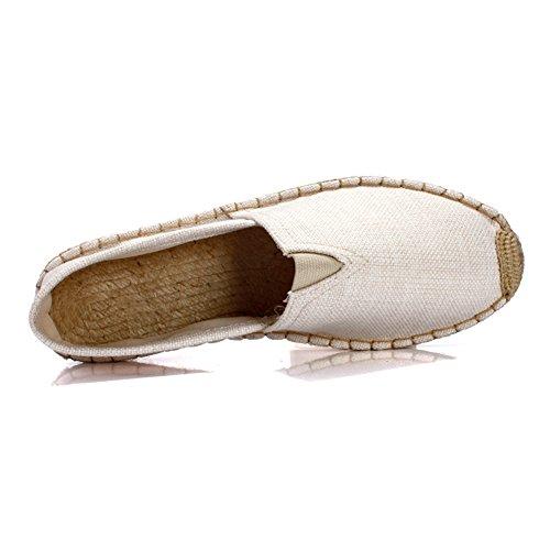 Fereshte Unisex Couple Femmes Confort Toile Toe Slip-on Plate-forme Plate Espadrilles Beige Nouveau