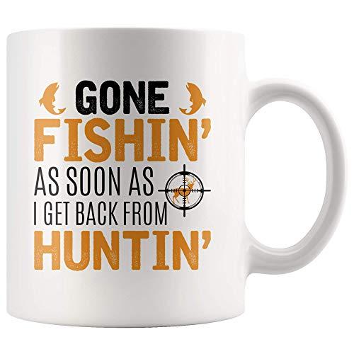 Hunting & Fishing Gift for Hunters Love Hunt Fish - 11oz White Mug deer elk duck bear coyote pheasant coon turkey bird Gift Idea