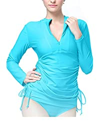 Womens Swim Shirt Long Sleeve UV Protection Rush Guard Top Swimming Dress