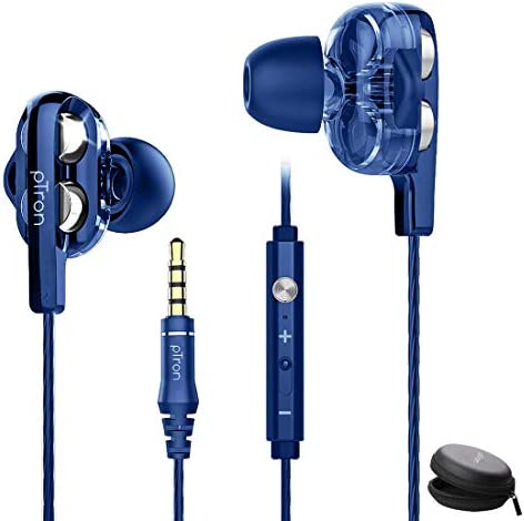 pTron Boom Ultima 4D Dual Driver, in-Ear Gaming Wired Headphones with in-line Mic, Volume Control & Passive Noise Cancelling Boom 3 Earphones – (Dark Blue)