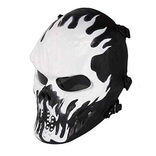 NINAT Airsoft Skull Masks Full Face - Tactical Mask Eye Protection for CS Survival Games BBS Shooting Masquerade Halloween Cosplay Movie Props Zombie Scary Skeleton Masks Wildfire -