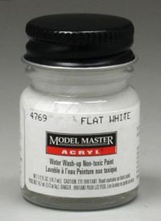 Flat White Testors Acrylic Plastic Model Paint