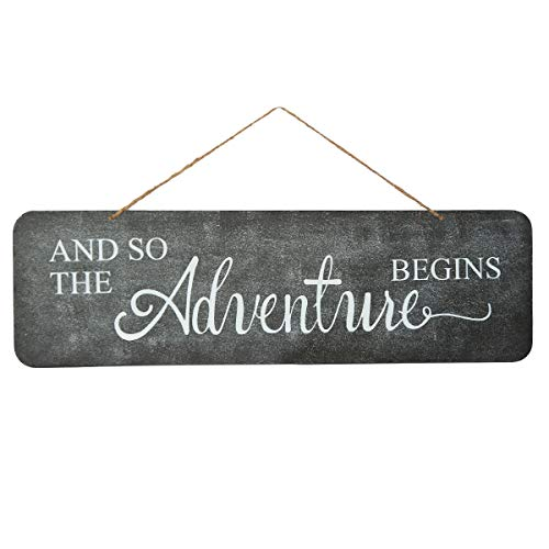 NIKKY HOME and So The Adventure Begins Metal Wall Plaque Decorative Wedding Sign for Anniversary