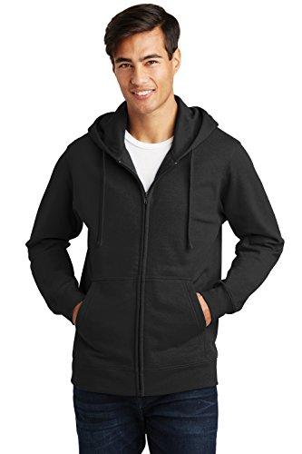 Sportoli Men's Adult Hooded Fleece Slim Fit Zipper Full Zip Up Hoodie Sweatshirt - Black (X-Large)