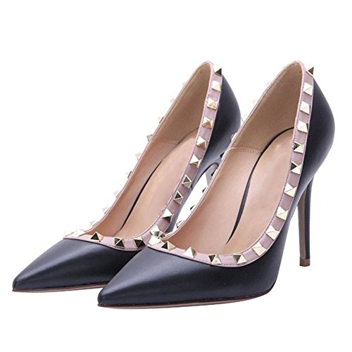 Arc-en-ciel zapatos de las mujeres del dedo del pie en punta tachonadas bombas de tacón alto Azul