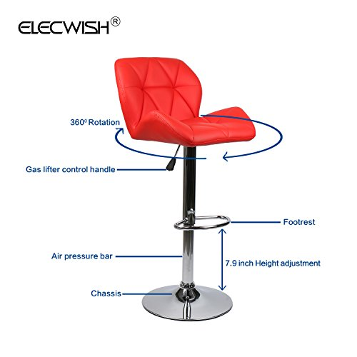 Elecwish Bar Stools Set of 2 White PU Leather Seat with Chrome Base Swivel Dining Chair Barstools (Red 2pcs) by Elecwish (Image #3)