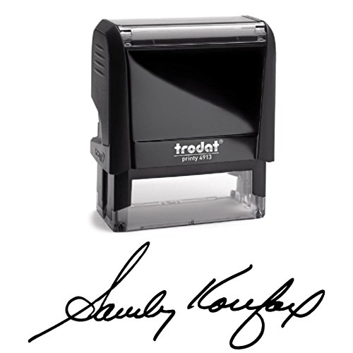 Black Ink, Signature Stamp, Self Inking. Your Own Signature Customized into the Best Quality Stamper. Great For Regular Signing, Sign Off Checks, Contracts, Certificates... Color Options Available.