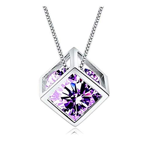MINI LIFE S925 Sterling Silver Pendant Necklace Jewelry with 14k Platinum Gold Plated,Swarovski Elements Crystal (Purple ()