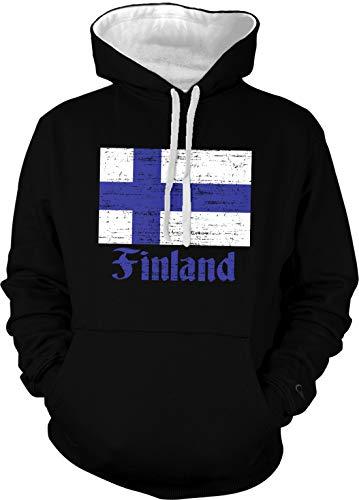 Amdesco Men's Flag of Finland Two Tone Hoodie, Black/White 3XL