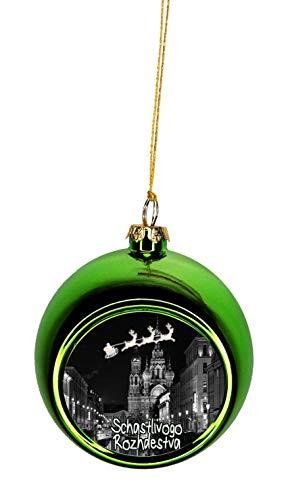 (Rosie Parker Inc. Santa Klaus and Sleigh Riding Over St. Petersburg Russia Schastlivogo Rozhdestva Bauble Christmas Ornaments Green Bauble Tree Xmas Balls)