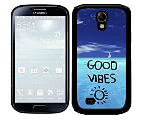 Good Vibes Quote with Bright Blue Ocean View 2-Piece Dual Layer High Impact Black Silicone Cell Phone Case Cover Samsung Galaxy S4 I9500