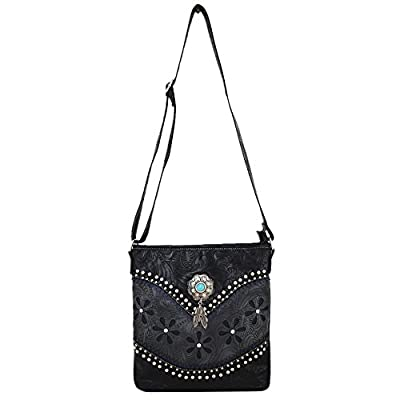 Western Style Tooled Leather Cross Body Handbags Concealed Carry Purse Women Country Single Shoulder Bag
