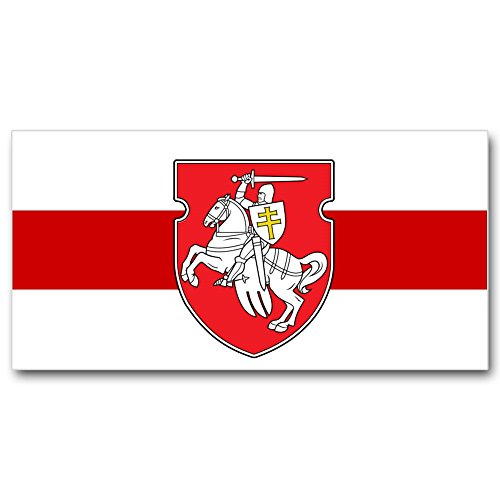 Flag Belarus - Weby Belarus Original Pagonya Flag 3x5 ft (90x150cm), White-Red-White with Knight Emblem