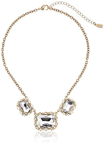 1928 Jewelry Silver-Tone Crystal Faceted Collar Adjustable Necklace, 16