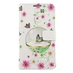 ZXM-Mariposas y flores patrón de dibujo de imitación de cuero cubierta de plástico duro bolsas para Samsung Galaxy Nota 2 N7100