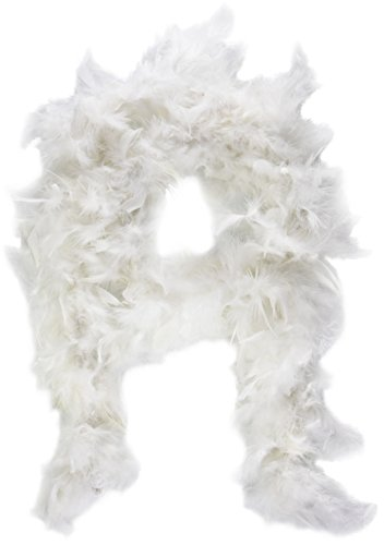 White Feather Boa with Silver Tinsel (6 ft) -