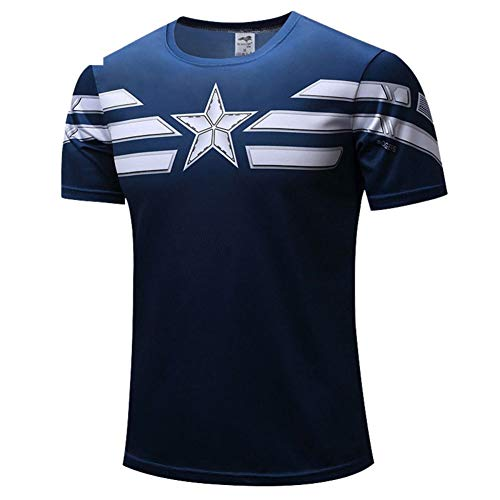 Mens Cool Graphic Tee Captain America Dri-fit Workouts Shirt Short Sleeve S ()