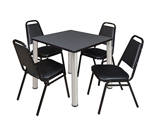 "Kee 30"" Square Breakroom Table- Grey/ Chrome & 4 Restaurant Stack Chairs- Black"