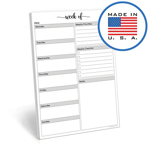 321Done Weekly Planning Pad - 50 Sheets (5.5 x 8.5) - Week Priorities to Do Notepad Tear Off, Planner Checklist Organizing - Made in USA - Simple Script