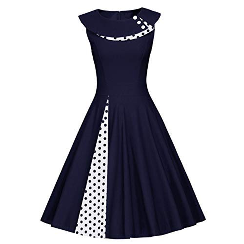 DongDong Retro Dot Print Ball Gown, Ladies Fashion Sleeveless Vintage O-Neck Patchwork Dress
