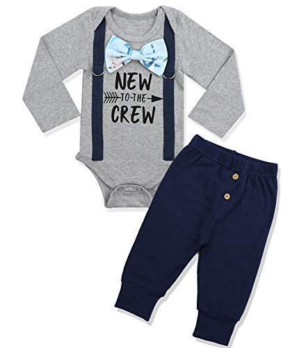 Newborn Baby Boy Clothes New to The Crew Letter Print Romper+Long Pants 2PCS Outfits Set 6-9 Months Grey (Infant Clothing For Boys)
