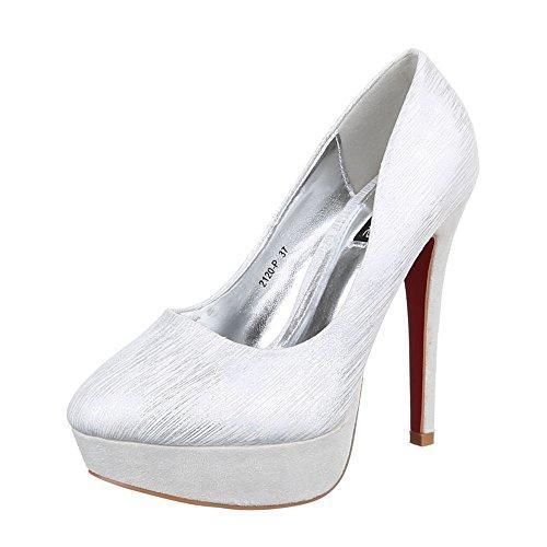 Mujer Tacón Zapatos Ital de Design plateado xIS8qv8t