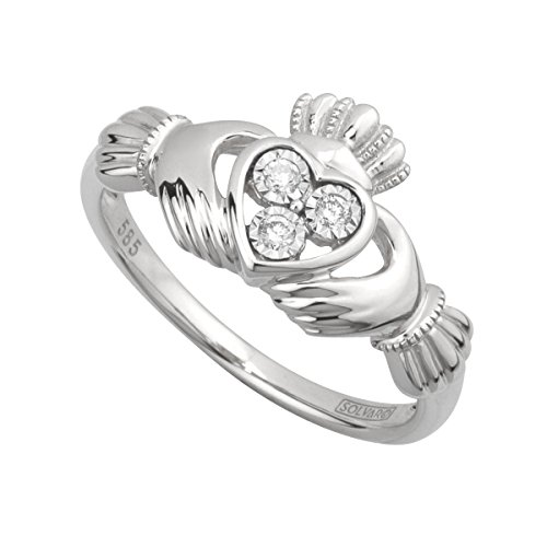 Solvar 14Kw Diamond Claddagh Ring, Size 7.5