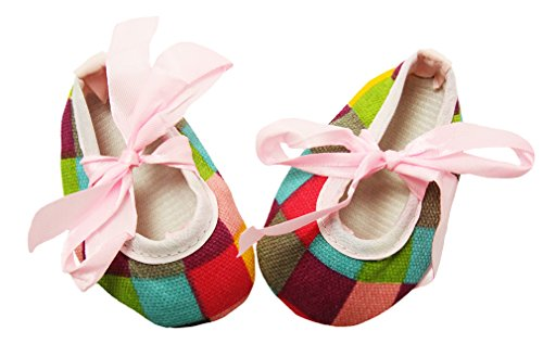 Wholesale Princess Pink, Turquoise and Hot Pink Checkered Print Crib Shoes