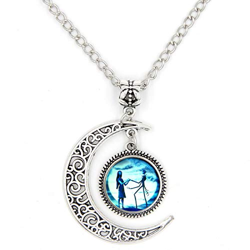Jack and Sally Nightmare Before Christmas Moon Pendant Charm Crescent Necklace]()